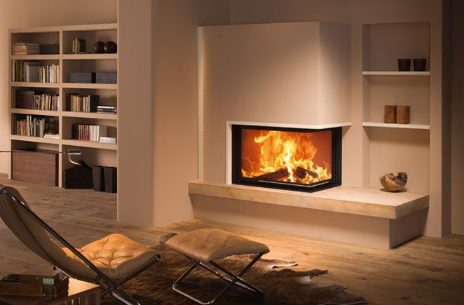 Cheminée d'angle avec insert foyer fermé Spartherm http://www.atredesign.fr/index.php/catalogue-cheminee-insert-poele-var