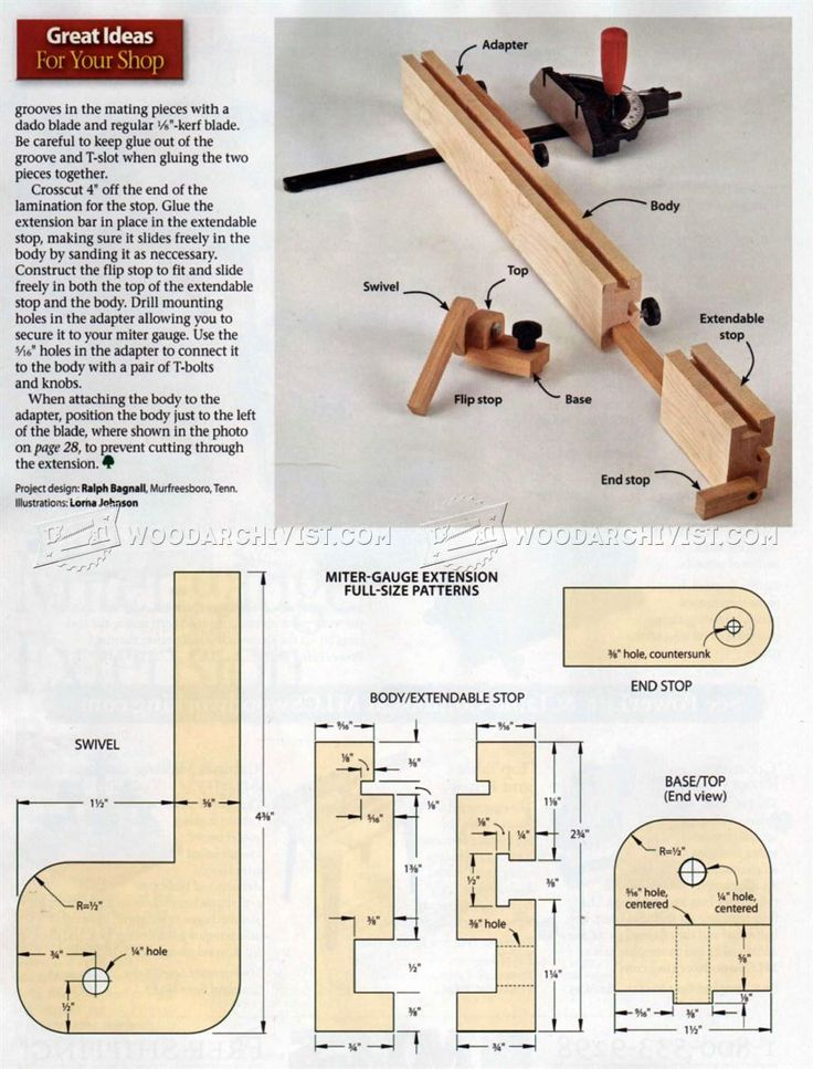 image of #102 Miter Gauge Fence Plans