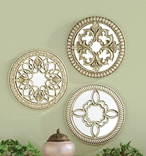 Set Of 3 Silver Wall Art Mirrors Decor Collections Etc http://www.