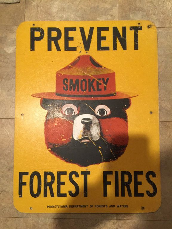 """Vintage Pennsylvania Prevent Forest Fires Smokey The Bear Sign 24"""" x 18"""" in Collectibles, Historical Memorabilia, Firefighting & Rescue 