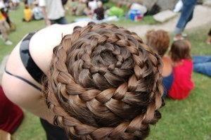 Spiral braids from waist length hair