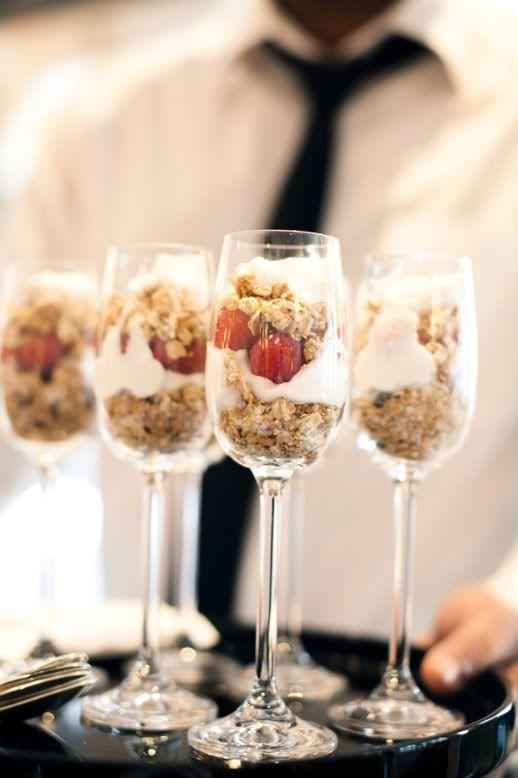 Champagne glass yogurt parfaits morning after wedding brunch