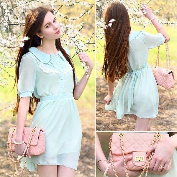 Нежное платье мятного цвета фото