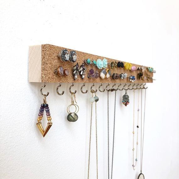 Jewelry Organizer – Earring Holder – Stud Earrings – Cork Holder – Earring Studs – Wood Jewelry Hanger – Minimalist