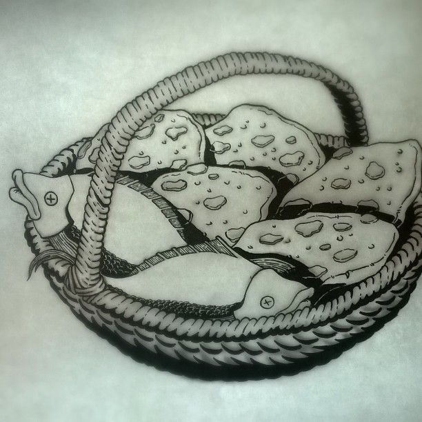 """5 breads and 2 fishes - original drawing, taken from """"Aan Tafel Bijbel"""" by Willemijn de Weerd, illustrated by me, published by Ark Media, the Netherlands"""