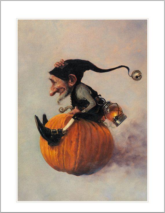 SIGNED Fine Art Print  The Flying Pumpkin  by StudioJBMongeGoblin, $40.00