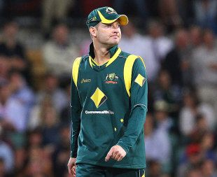 Michael Clarke reflects on a tough day in the field, Australia v Sri Lanka, Commonwealth Bank Series, 2nd final, Adelaide, March 6, 2012