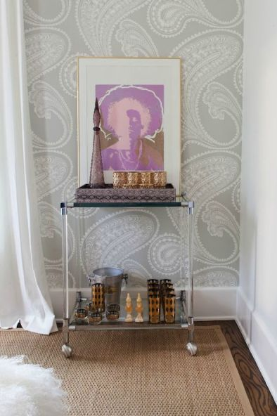 Suzie: Sally Wheat Interiors - Lucite rolling bar in dining room with Cole & Son Rajapur ...