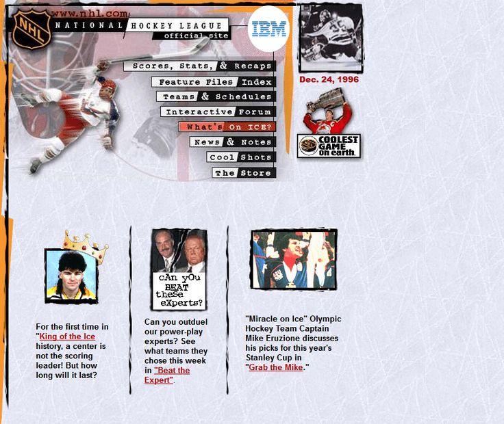NHL.com website in 1996