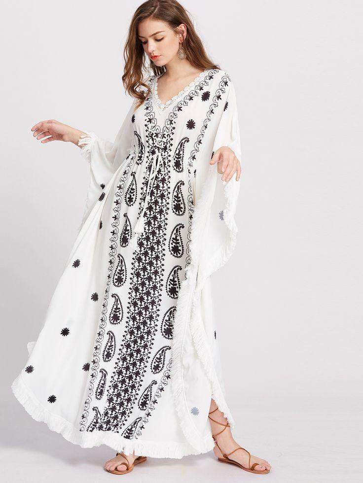 White V-Neck Fringe Trim Dolman Sleeve Kimono Dress