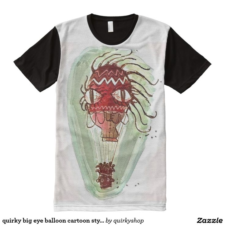 quirky big eye balloon cartoon style illustration All-Over print t-shirt