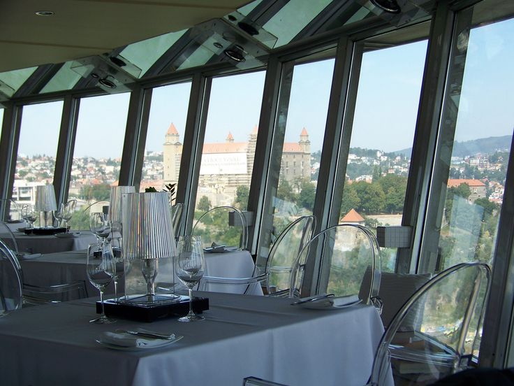 The Slovak National Uprising Bridge in Bratislava. Slovakia.  Restaurant UFO