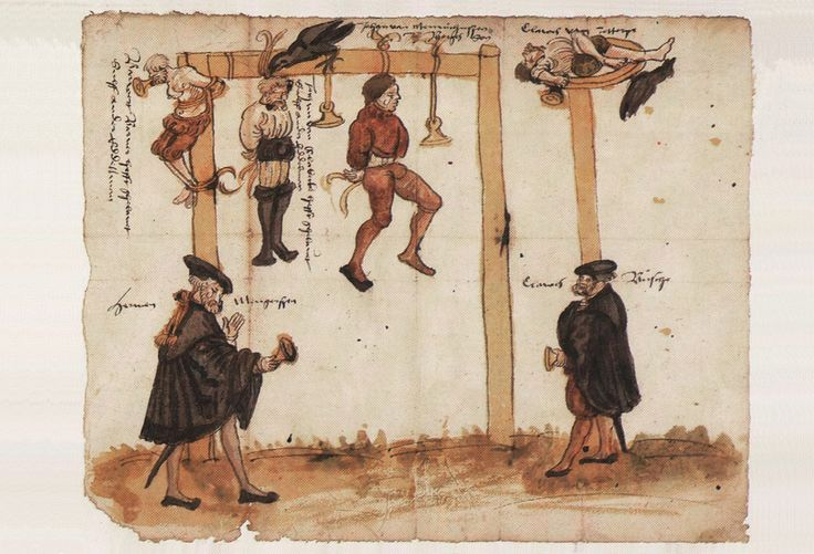 Schandbild, 1525x50, now in Lippe. Men and their seals hanged from the gallows (right way up). Another man broken on the wheel.