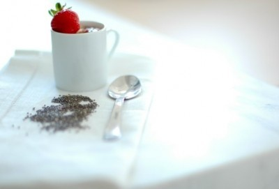 Chia seed pudding. use strawberries or blueberries