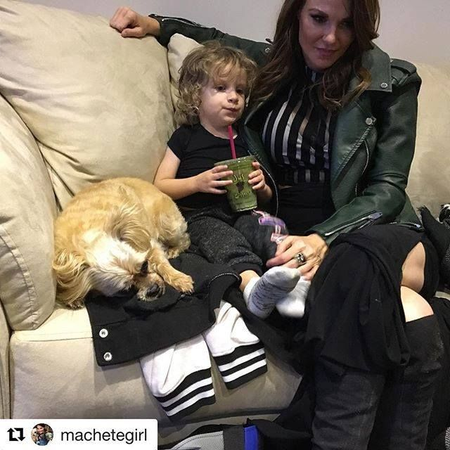 """Trish posted this pic of her son Max and her besties and Max's godmother Amy Dumas. It was a repost of Amy's saying, """" Spent Saturday night with a pretty solid #nxttakeover watching crew. #thekenz #godmama #max .""""  Trish repsonded, """" Psst, I was there too!! #bestie #someonehastotakethephoto ."""""""