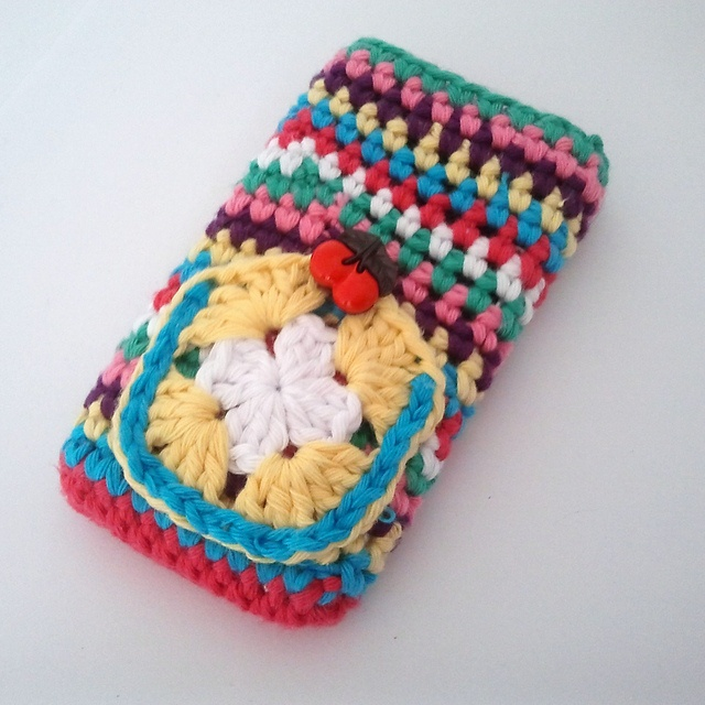Ravelry: Stripes, a Granny and a Cherry on Top! Ipod or Iphone Cozy pattern by A la Sascha