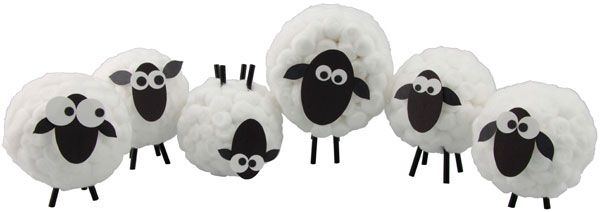 Sheep made out of cotton balls