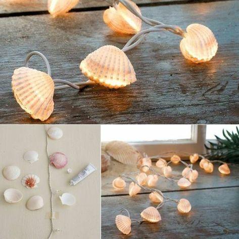 Decorazioni marine con dei fili di lucine e conchiglie incollate, fai da te crea…