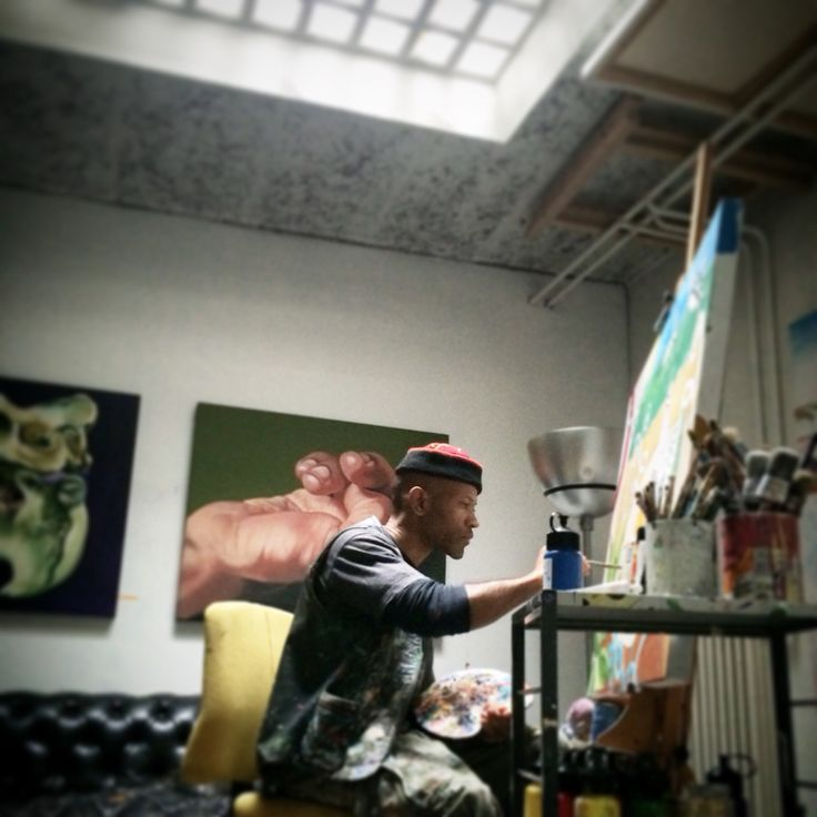 11/2014 COURTNEY FORBES AT WORK. Picture shot - with an iPhone - at the artist's studio in Zurich.