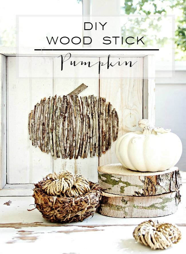 Trace an outline of a pumpkin on a backdrop of your choosing, then fill in with wooden twigs from your backyard.  Get the tutorial at Thistlewood Farms.   - CountryLiving.com