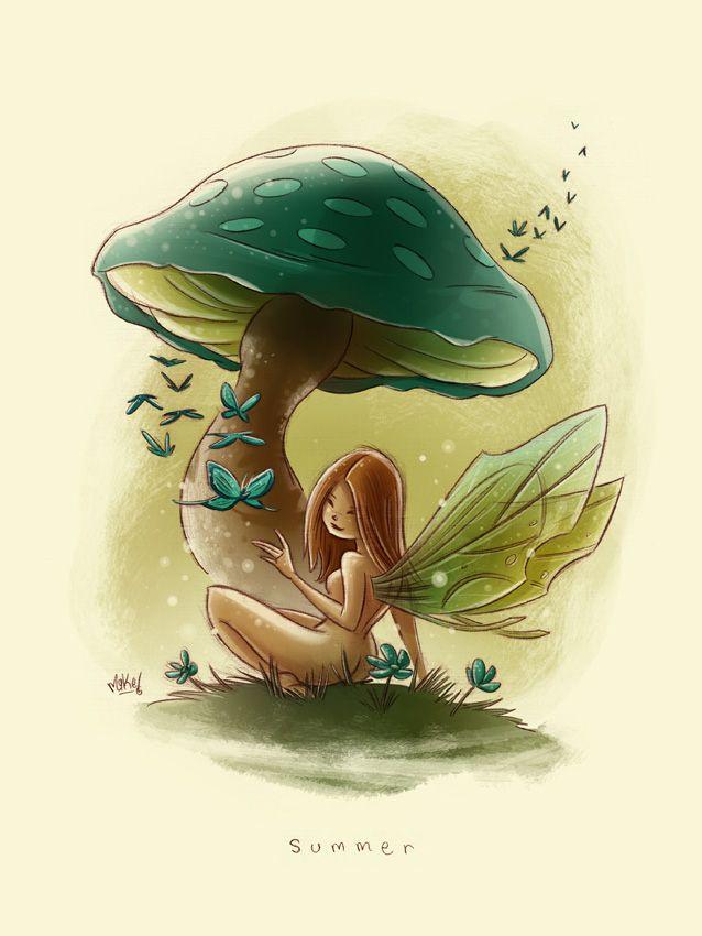 Les 428 meilleures images du tableau elfes f es gnomes - Dessiner un champignon ...