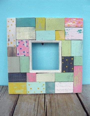 scrap wood photo frame, cute for girls room.