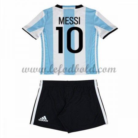 Argentina Børn Fodboldsæt 2016 Lionel Messi 10 Kortærmet Hjemme Fodboldtrøjer