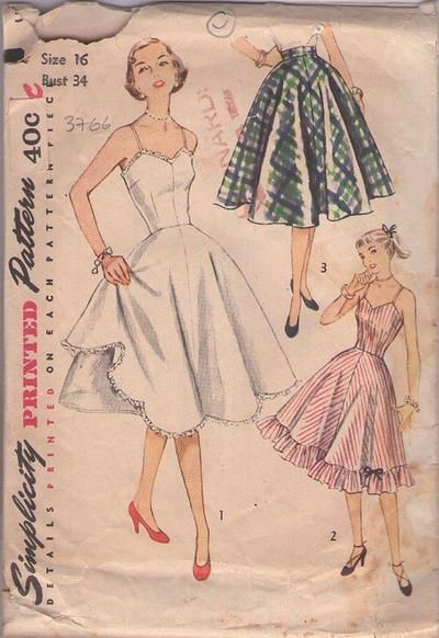MOMSPatterns Vintage Sewing Patterns - Simplicity 3766 Vintage 50's Sewing Pattern GORGEOUS Rockabilly Pinup Girl Swing Dance Full Dress Sli...