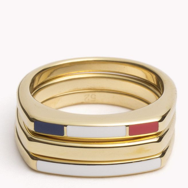 Stackable gold plated ring set with enamel detailing in the signature Tommy Hilfiger colors.
