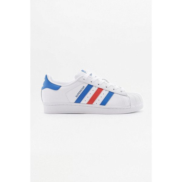 adidas Superstar White Red and Blue Striped Trainers ($98) ❤ liked on Polyvore featuring shoes, sneakers, white, red leather sneakers, adidas shoes, blue shoes, white leather sneakers and lace up sneakers