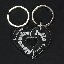 Porte clés couple gravé personnalisable - coeur à partager en 2