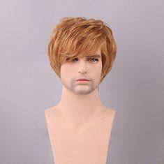 #Banggood Темно- пепельный блондин мужчин короткие человеческие волосы парик сторону взрыва мужчина моно топ Remy девственницы монолитным  (1085279) #SuperDeals