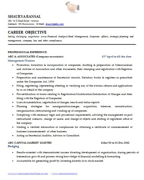 Sample Template Of An Excellent Company Secretary Resume Sample With Great  Job Profile, Career Objective
