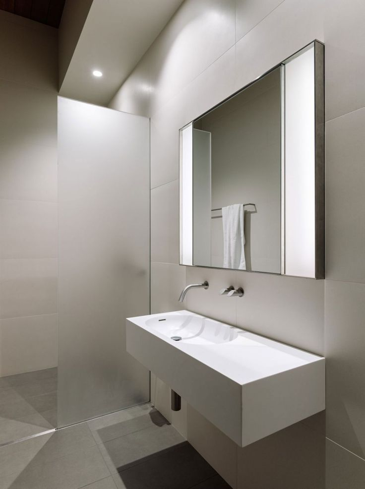 Stunning Loft Interior Design with Wood Domination: astounding white bathroom ideas for sink and bathroom wall with large mirror