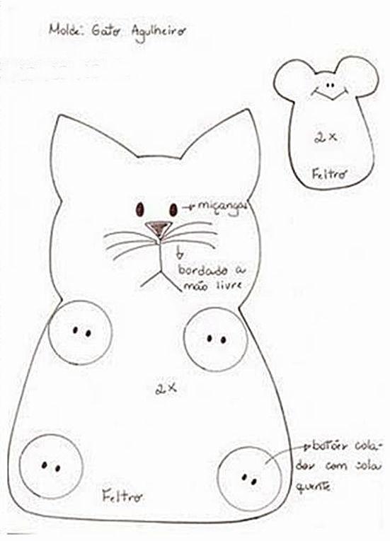 Porta treco gatinho com molde | Feltro | Pinterest | Fieltro, Moldes ...