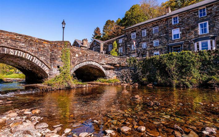 Lataa kuva Gwyneddin, stone bridge, vanha kaupunki, Wales, Yhdistynyt Kuningaskunta