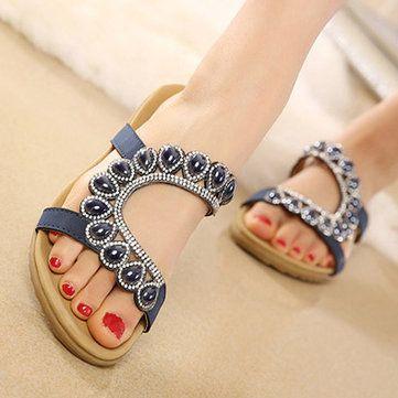 Bohemia Bead Peep Toe Casual Flat Sandals - US$27.99