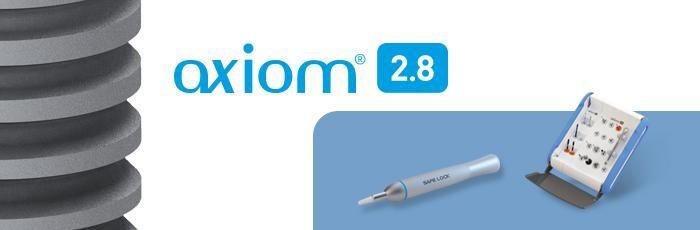 Un kit chirurgical dedicat sistemului Axiom® 2.8      Usor de folosit, configuratie practica si logica     Codare colorata – portocaliu pentru implantul Axiom2.8     Kit ergonomic, compact cu posibilitatea inclinarii trusei     Protocoale intuitive