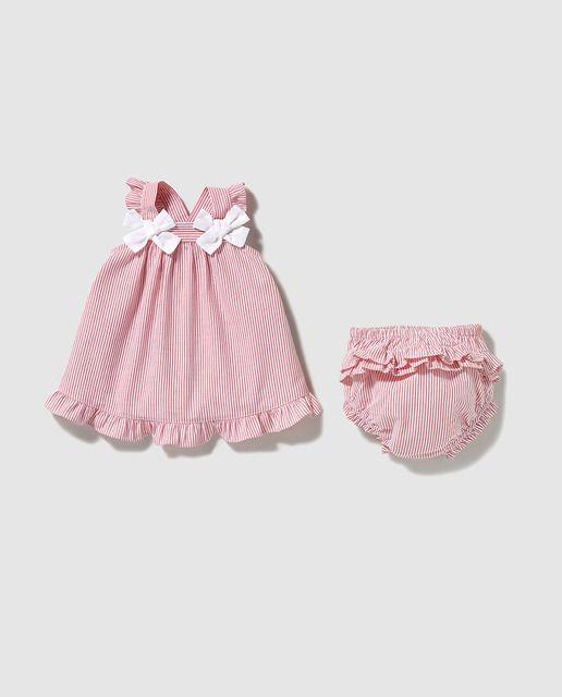 Vestido de bebé niña Dulces con rayas bicolor