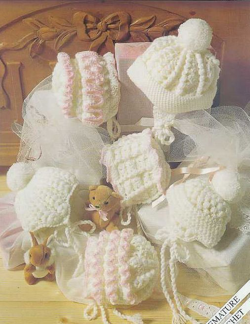 six designs baby bonnets hats vintage crochet pattern premature to six months sizes double knitting wool required to make these delightful hats PDF Instant download