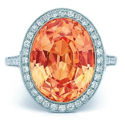 Tiffany & Co. This 11.15-carat orange sapphire is prized for its prodigious size and striking color.
