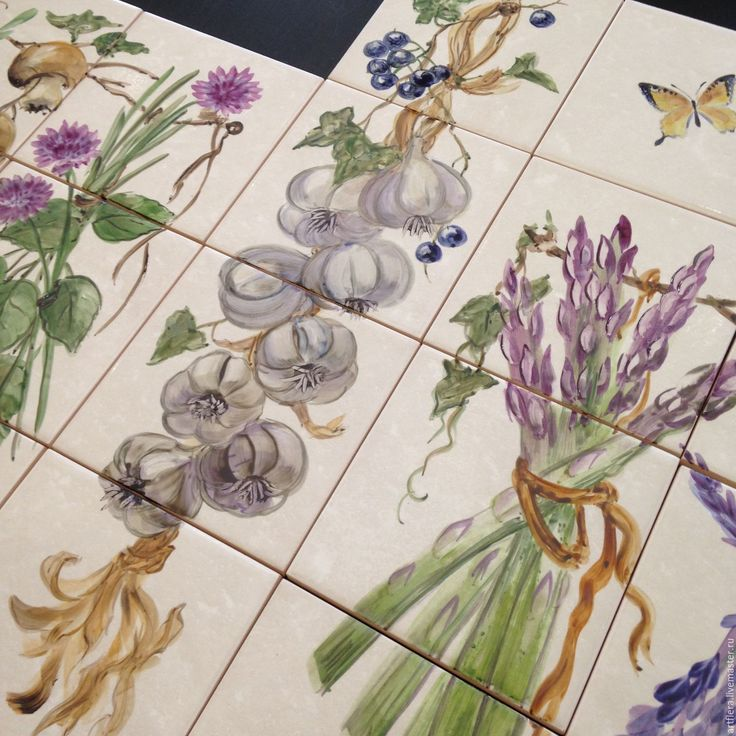 Купить Роспись плитки Роспись керамики Фартук для кухни Прованские травки - Роспись плитки