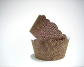 24 Burlap Cupcake Wrappers Shabby Chic Rustic by brightsoslight