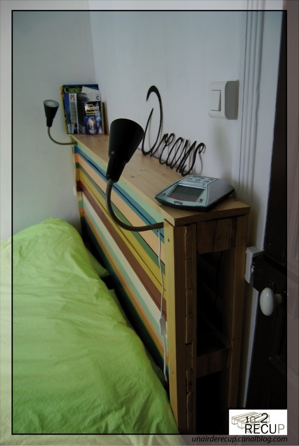 pallet head board - such a neat idea, reuse and provide shelf by bed