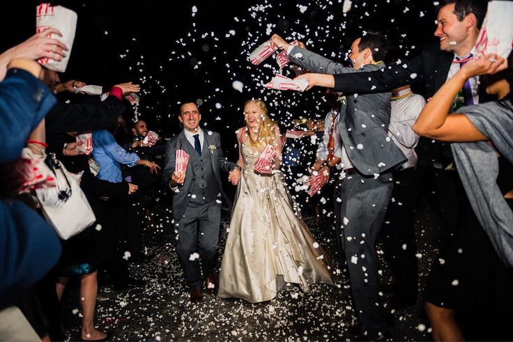 Looking for a cute wedding exit idea that's environmentally freindly and dosen't involve your drunkest friends handling fire? We loved Shana and Alan's popcorn exit for this fall Virgina wedding! See more from their elegant ristic wedding at http://ift.tt/2vf4xa2  #weddingexits #uniqueweddingexits #popcornexit #virginiawedding #stoneleighgolfandcountryclub #rusticfallwedding #weddinginspiration