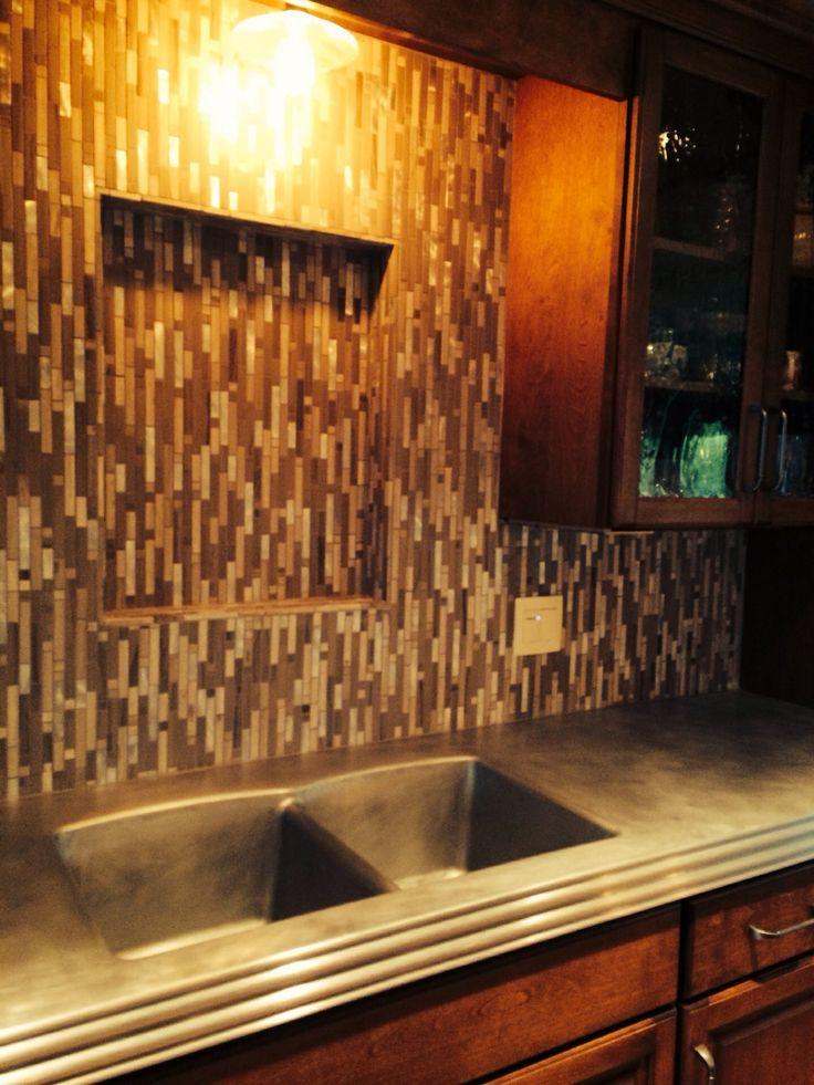 Vertical glass tile backsplash. Stevens Point, WI.