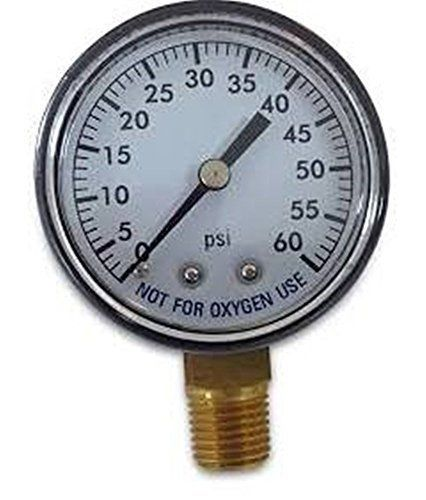 Pool-Spa-Filter-Water-Bottom-Mount-1-4-Inch-Pipe-Thread-Pressure-Gauge-0-60-PSI