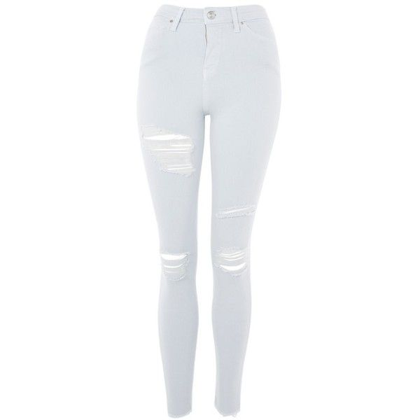 Women's Topshop Jamie Super Rip Raw Hem Skinny Jeans (250 BRL) ❤ liked on Polyvore featuring jeans, pants, bottoms, pantalones, white, white ripped jeans, stretch skinny jeans, white ripped skinny jeans, white high-waisted jeans and high rise skinny jeans