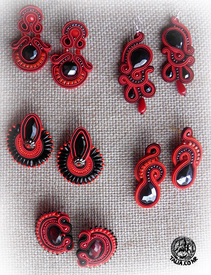 Red & Black soutache earrings