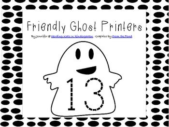 "Here's a fun, ""friendly ghosts"" Number tracer set! Just laminate and cut out the cards and then students can trace them. This would also be great to use with ""ghost"" stories like ""Hide and Ghost Seek"" or ""Ten Timid Ghosts"" or any other children's book with ghosts!"